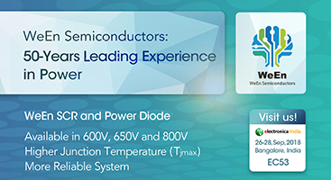 WeEn Semiconductors Co., Ltd , a joint venture on a global scale between NXP Semiconductors B.V. and Beijing JianGuang Asset Management Co. Ltd (JAC Capital) sincerely invite you to visit our booth in Electronica India 2018 from Sep 26-28, 2018.